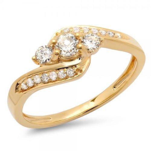 Dazzlingrock Collection 0.50 Carat (ctw) 10k Round Diamond Ladies Swirl Engagement 3 Stone Bridal Ring 1/2 CT, Yellow Gold, Size 9