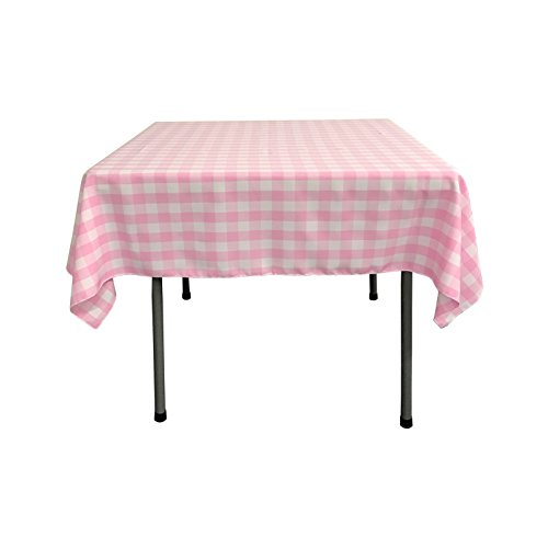 "LA Linen Gingham Checkered Square Tablecloth 52"" x 52"", Pink and White"