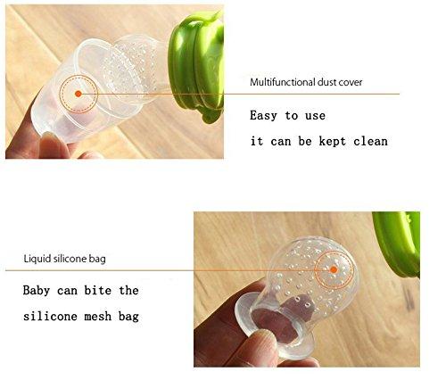 Westeng - Alimentador antiahogo para bebé, tetina silicona con sujetacadena (Verde)