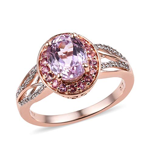Halo Ring 925 Sterling Silver Vermeil Rose Gold AA Premium Kunzite Pink Tourmaline Jewelry for Women Size 8 Ct 2.4