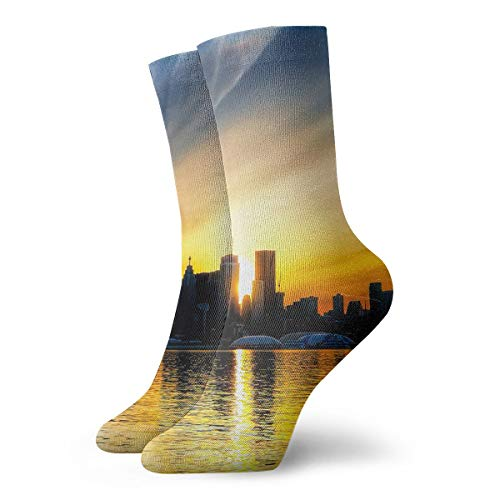Unisex High Ankle Cushion Crew Socks CN Tower