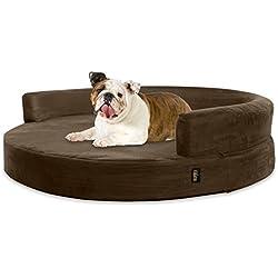 KOPEKS Deluxe Orthopedic Memory Foam Round Sofa Lounge Dog Bed - Large - Brown