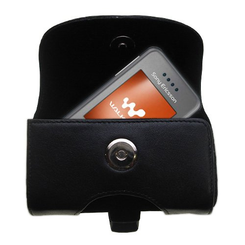(Gomadic Brand Horizontal Black Leather Carrying Case for the Sony Ericsson w580i with Integrated Belt Loop and Optional Belt)