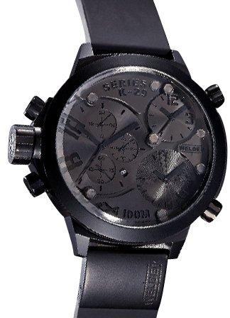 Welder K29 8001 - Reloj analógico de caballero de cuarzo con correa de goma negra -