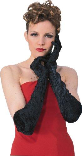 Long Velvet Gloves (Secret Wishes Long Velvet Costume Gloves, Black, One Size)
