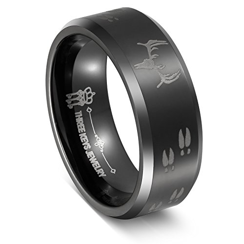 Three Keys 8mm Tungsten Ring Black Beveled Edge Skull Deer Antlers Track Men's Hunting Ring Wedding Ring Engagement Band Outdoor Jewelry Size (Black Silver Key Ring)
