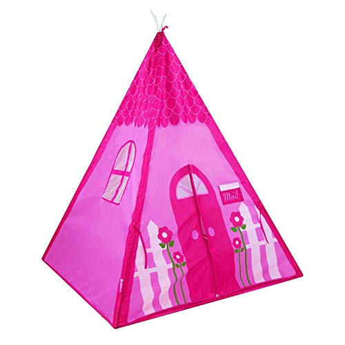 GigaTent Teepee Tent for Kids - Easy Setup Girl's Pink Flower Playhouse for Indoor and Outdoor Play - Durable Polyester with Mesh Windows for Great Ventilation - Easy Storage