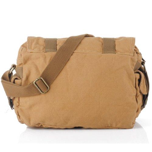 JGOO 2014nuevos hombres de lona + cuero mensajero bolsa de hombro hombre Mochila Escolar, marrón (marrón) - SB-021 marrón