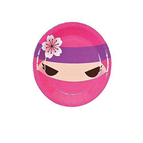 Bargain World Ninja Girl Dessert Plates (With Sticky - Paper Plates 7' Pink Dessert