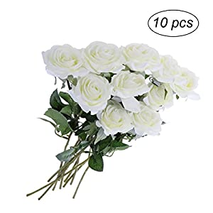 WINOMO 10pcs Artificial Flowers Long Stem Silk Rose Flower Bouquet for Party Wedding Decor(White) 99