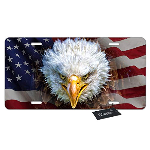 (WONDERTIFY License Plate American USA Flag with an Angry North American Bald Eagle Decorative Car Front License Plate,Vanity Tag,Metal Car Plate,Aluminum Novelty License Plate,6 X 12 Inch (4)