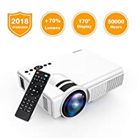 Projector, TENKER Q5 LED Mini Movie Projector Support 1080P HDMI USB TF VGA AV, Multimedia Home Theater LCD Video Projector