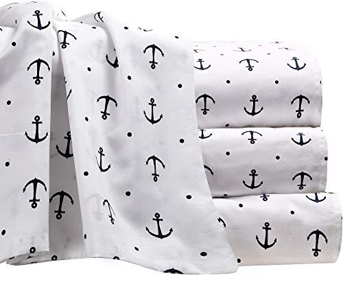 Set Nautical Sheet - Anchor Sheet Set with Deep Fitting Pockets, White with Navy Blue Anchors and Polka Dots, 4 Piece Sheet and Pillowcase Set - King, Anchors