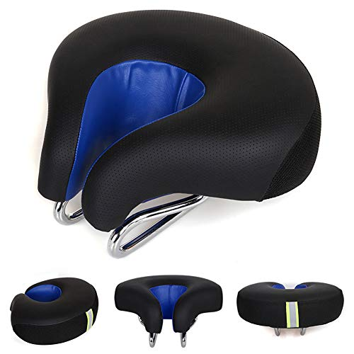 Zisen Noseless Bike Seat Replacement–Bicycle Saddle Wide Black Men & Women for Mountain Bike Beach Crusier Bicycle Exercise Stationary Cycling Bike Comfortable Outdoor Indoor Sports (Black&Blue)