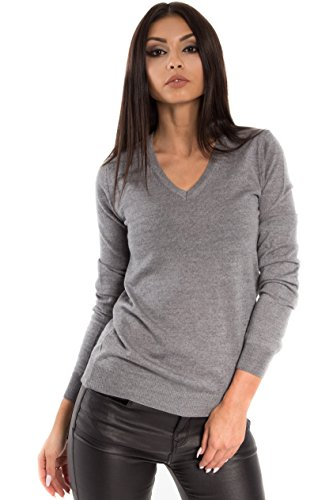 (KNITTONS Women's Wool Classic Slim Fit V-Neck Sweater Pullover (Small, Grey))