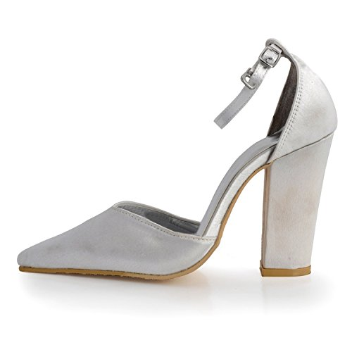 Kevin Fashion MZ609 – Pointy Toe Stiletto talón Slip On Zapatos de satén de novia Wedding Evening de bomba, color Beige, talla 43