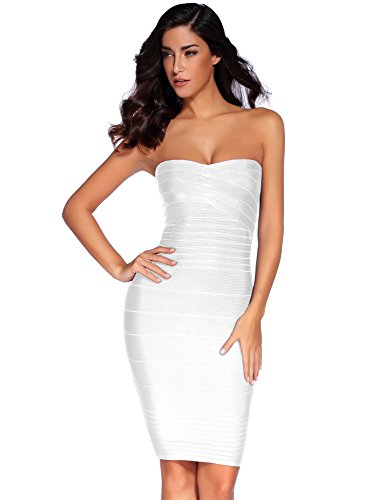 Meilun Womens Rayon Strapless Stretch Cocktail Bandage Dress Large White