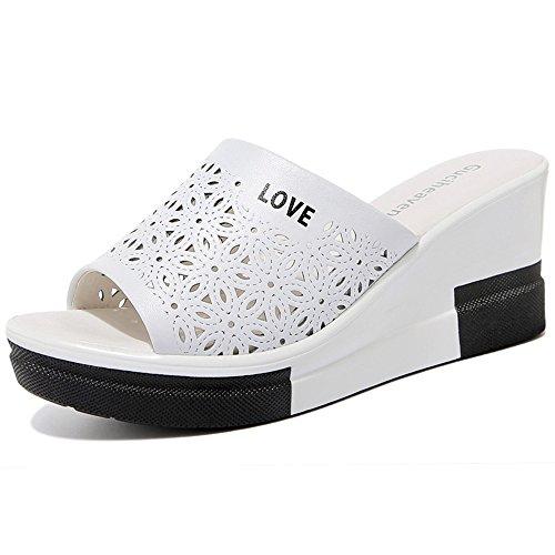 Sandals ZHIRONG High Heel Women's Summer Fashion Waterproof Platform Open Toe Slippers Platform Shoes Roman Shoes Beach Shoes 7CM (Color : White, Size : EU39/UK6/CN39) White