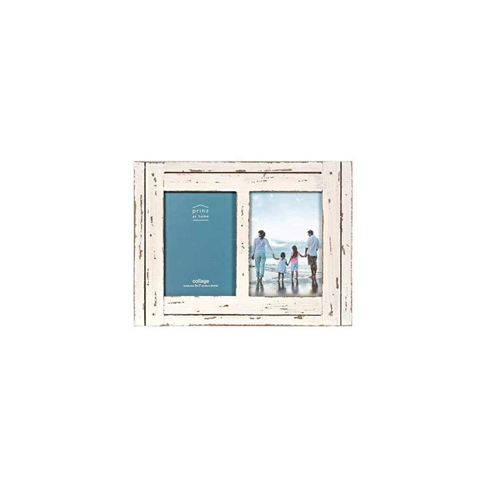 PRINZ Homestead 5-Inch by 7-Inch Distressed Wood Collage Picture Frame for Two Photos, White