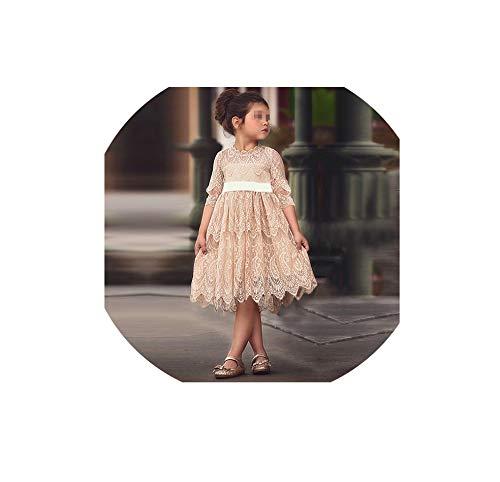 (Baby Girls Dress Flower Lace Hollow Princess Costume Princess Summer Girls Party Frocks,Champange,4T)