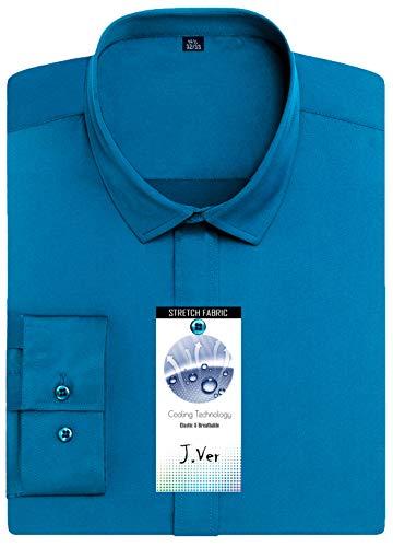 Camicie Regolare J Maniche Non Camicia Poplin A 02 Iron ver Uomo Vestibilità Blu Lunghe Formale qxXWXftS