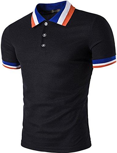 Sportides Mens Polo Shirts Contrast Collar Golf Tennis Short Sleeve Shirt Tops JZA048 Black M