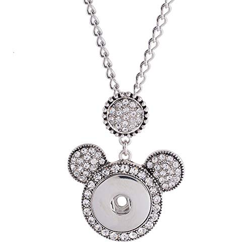 (Snap Jewelry Mickey Mouse Shape Necklace Fits 18-20mm Snaps 20-3