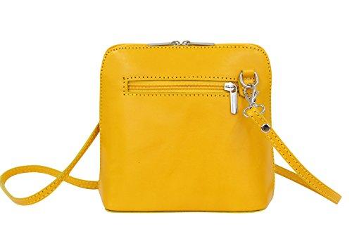 AMBRA Moda Women's Handbag,Small leather bag, Cross body bag, shoulder bag, disco bag VL508 Yellow