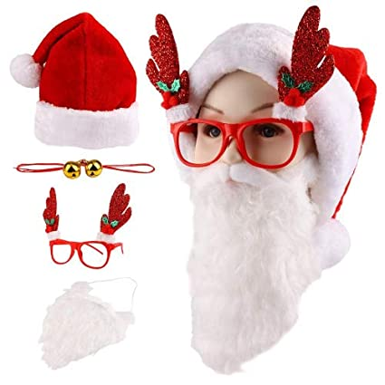 1a4ce03bfae2b Amazon.com  JEICY Santa Hat Christmas Cap Santa Beard and Reindeer Glasses   Toys   Games
