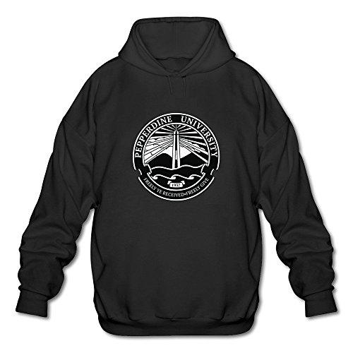 Men's Pepperdine University Seal Long Sleeve Hooded Sweatshirt Medium Black ()