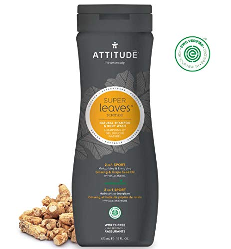 ATTITUDE Super Leaves, Hypoallergenic 2 in 1  Shampoo and Body Wash, Ginseng & Grapeseed Oil, 16 Fluid - Treatment Body Tonifying