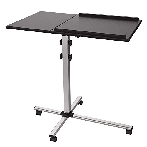 ProHT Mobile Projector Stand Trolley (05487A), Flexible Laptop Desk Cart Rolling Computer Stand, Height Adjustable Presentation Cart / Projection Stand/Laptop stand , 35°Tilt .Black - Projector Table Stand