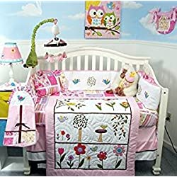 SoHo Owls Meadowland Baby Girl Crib Nursery Bedding Set 13 pcs included Diaper Bag with Changing Pad & Bottle Case