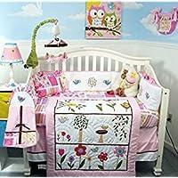 SOHO Búhos Meadowland Baby Crib Nursery Juego de ropa de cama 13Pcs incluidos Bolsa de Pañales con cambiador y botella caso