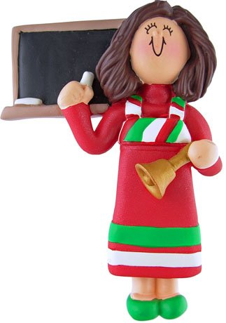 Personalized Female Girl Teacher Ornament Christmas Holiday Gift