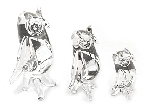 NOVICA 183780 Owls of Justice Blown Glass Silver Leaf Figurines Set of 3