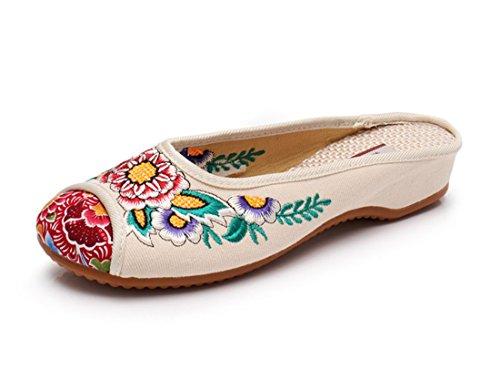Zapatillas Baotou, Primavera y Verano, Bordado Nacional de Viento, Fondo de Tendón de Ganado, Pequeña Pendiente y Zapatos de Tela. White