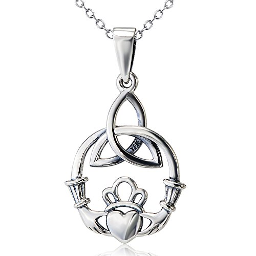 Sterling Silver Celtic Love by Kelly Hands Holding Crown Heart Claddagh Pendant Necklace,