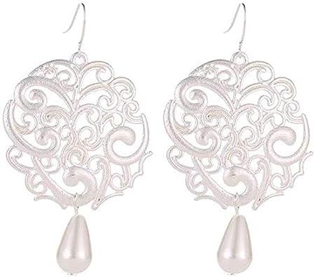 Simplicidad Elegante Pendientes Redondos Huecos Retros Pendientes de Perlas de Gota de Agua Tallados Geométricos Exagerados, MN, 02 plata 10000