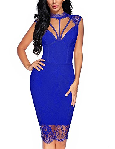 mesh and lace bodycon dress - 7