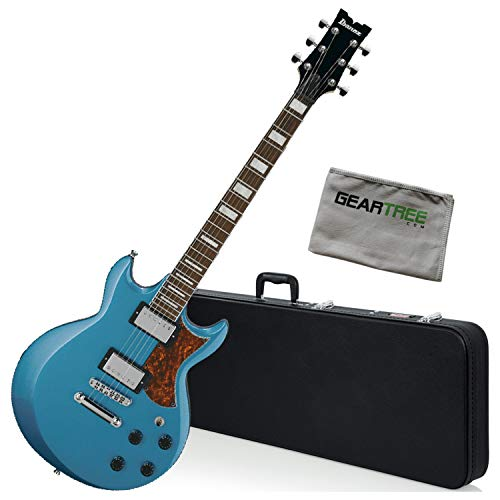 - Ibanez AX120 MLB Metallic Light Blue AX Standard Electric Guitar Bundle w/Case a