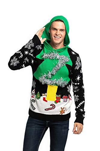Unisex Women's Ugly Christmas Sweater Hoodie Funny Knitted Xmas Pullover Sweatshirt - A Season's Star is Born, Small