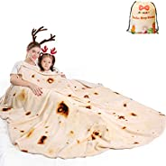 mermaker Burritos Tortilla Blanket 2.0 Double Sided 71 inches for Adult and Kids, Giant Funny Realistic Food T