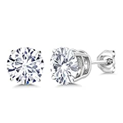 Contemporary and distinctive our Moissanite gem stone earrings are sure to be great addition to any jewelry collection. Created Moissanite is a beautiful stone making it perfect for any occasion and holiday. Show her you care with a gift that...