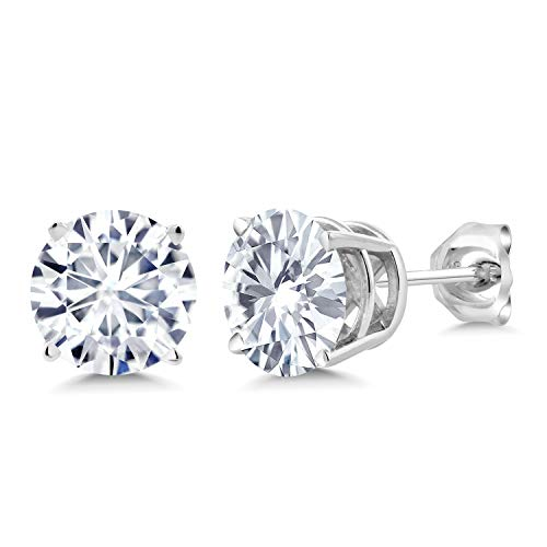 925 Sterling Silver Stud Earrings Forever Classic Round 2.00ct (DEW) Created Moissanite by Charles & Colvard Amazing 925 Sterling Silver Earring