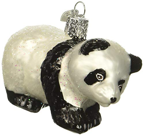 Old World Christmas Ornaments: Panda Cub Glass Blown Ornaments for Christmas Tree