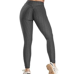 FITTOO Legging Jacquard Donna Sport Legging Rete da Pesca Fitness Vita Alta V per Yoga Palestra Fitness Pantaloni Push… 8