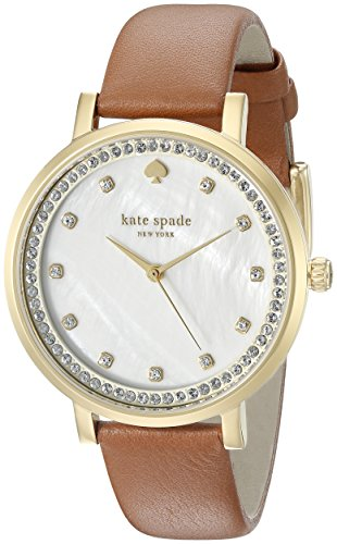 kate spade new york Women's Monterey Stainless Steel Watch with Brown Band