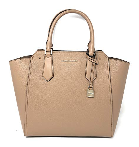 e8ddf6c1d43d MICHAEL KORS HAYES LARGE TOTE LEATHER BAG IN DK KHAKI