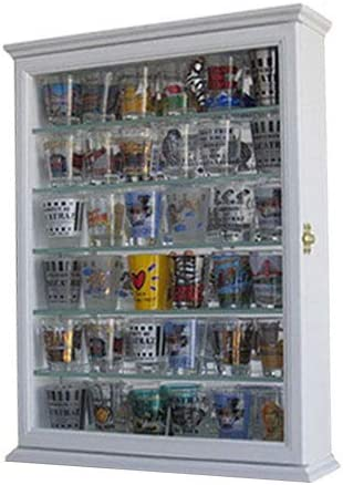 Souvenir Shot Glass Display Case Shadow Box Wall Mounted Cabinet